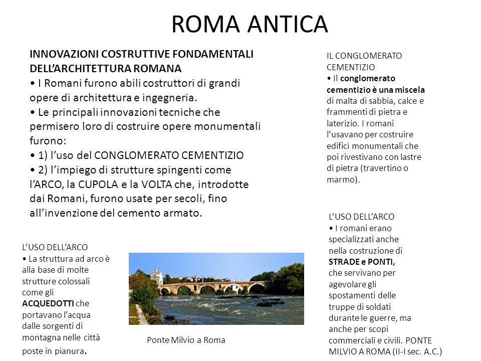 ROMA ANTICA INNOVAZIONI COSTRUTTIVE FONDAMENTALI