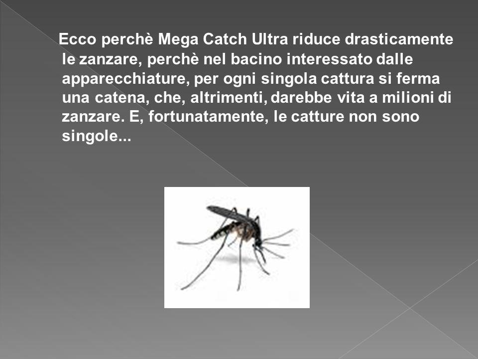Ecco perchè Mega Catch Ultra riduce drasticamente le zanzare, perchè nel bacino interessato dalle apparecchiature, per ogni singola cattura si ferma una catena, che, altrimenti, darebbe vita a milioni di zanzare.