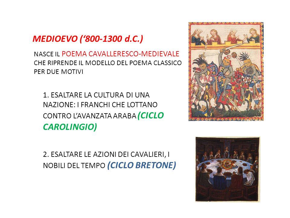 MEDIOEVO ('800-1300 d.C.) NASCE IL POEMA CAVALLERESCO-MEDIEVALE. CHE RIPRENDE IL MODELLO DEL POEMA CLASSICO.