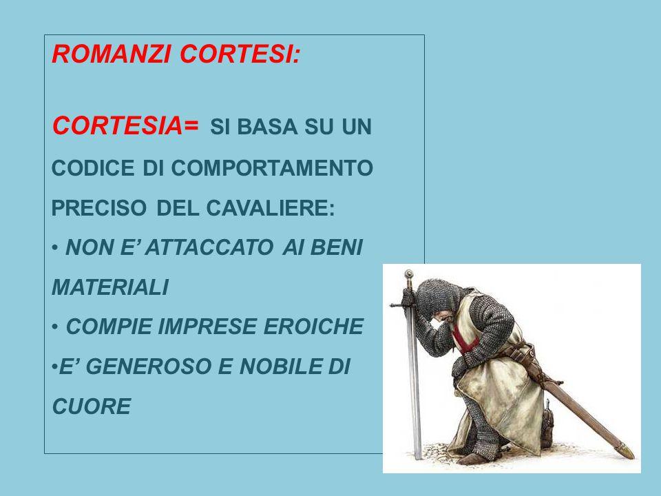 CORTESIA= SI BASA SU UN CODICE DI COMPORTAMENTO PRECISO DEL CAVALIERE: