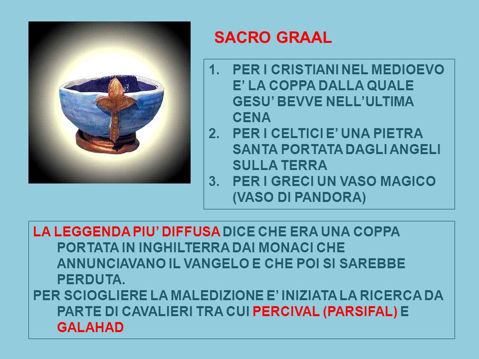 SACRO GRAAL PER I CRISTIANI NEL MEDIOEVO E' LA COPPA DALLA QUALE GESU' BEVVE NELL'ULTIMA CENA.