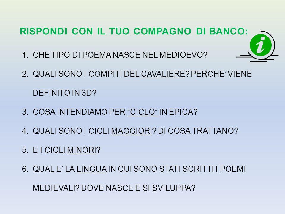 RISPONDI CON IL TUO COMPAGNO DI BANCO: