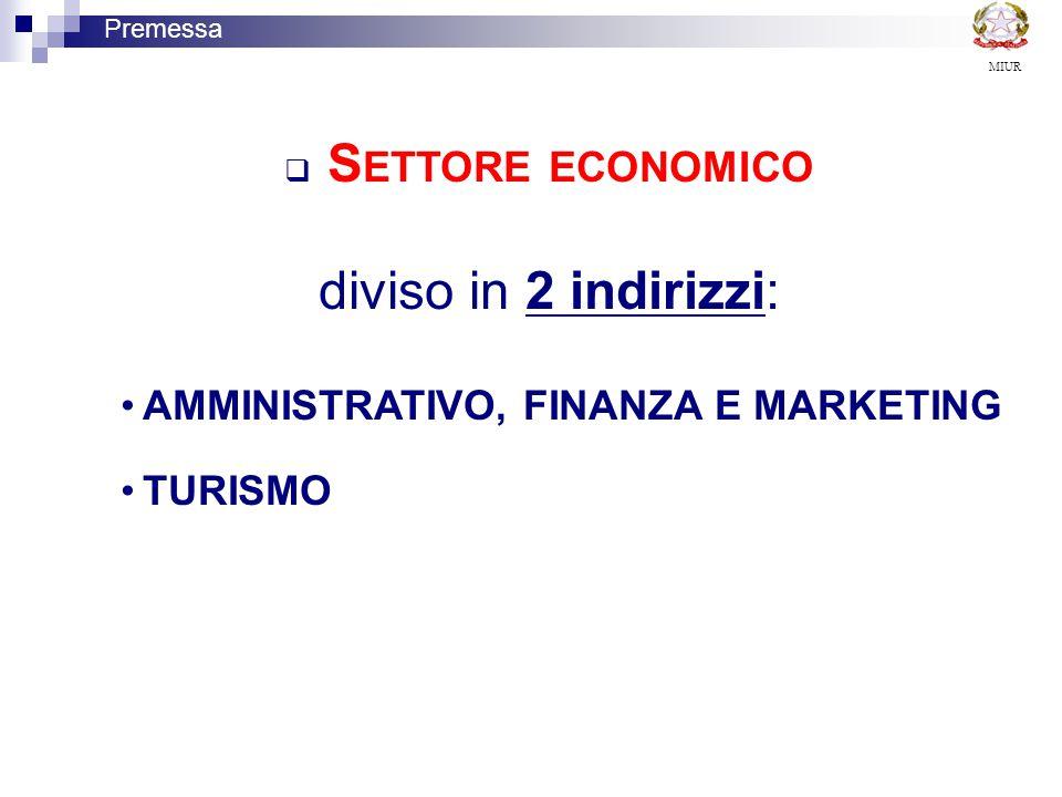 diviso in 2 indirizzi: AMMINISTRATIVO, FINANZA E MARKETING TURISMO