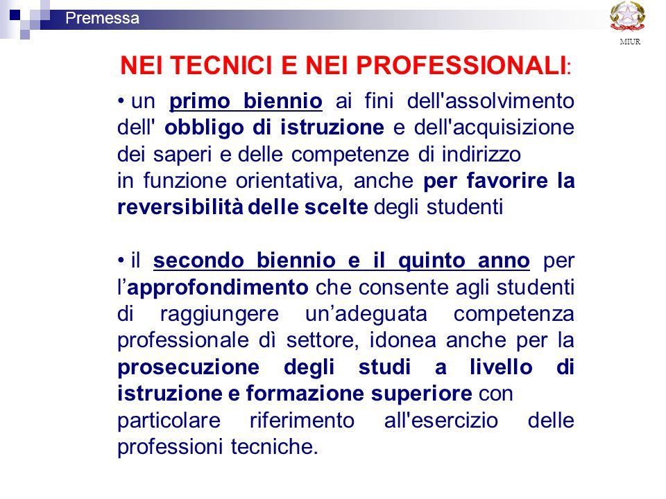 NEI TECNICI E NEI PROFESSIONALI: