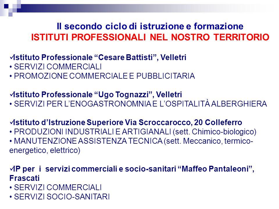 Il secondo ciclo di istruzione e formazione ISTITUTI PROFESSIONALI NEL NOSTRO TERRITORIO
