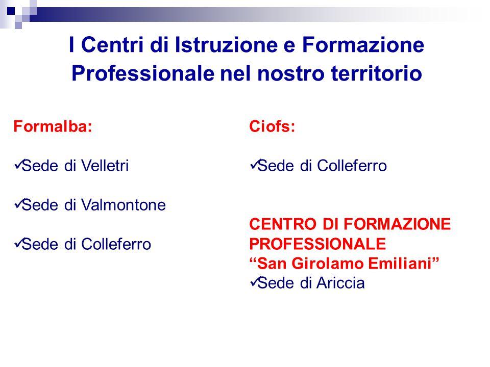I Centri di Istruzione e Formazione Professionale nel nostro territorio