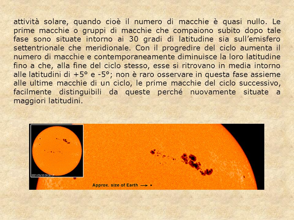 attività solare, quando cioè il numero di macchie è quasi nullo