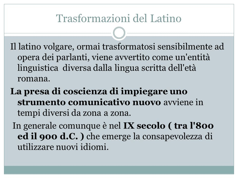 Trasformazioni del Latino