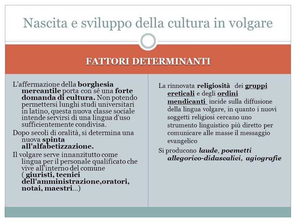 Nascita e sviluppo della cultura in volgare