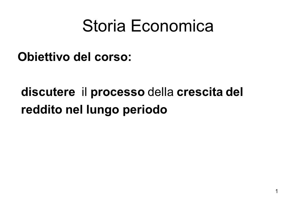 Storia Economica Obiettivo del corso: discutere il processo della crescita del reddito nel lungo periodo