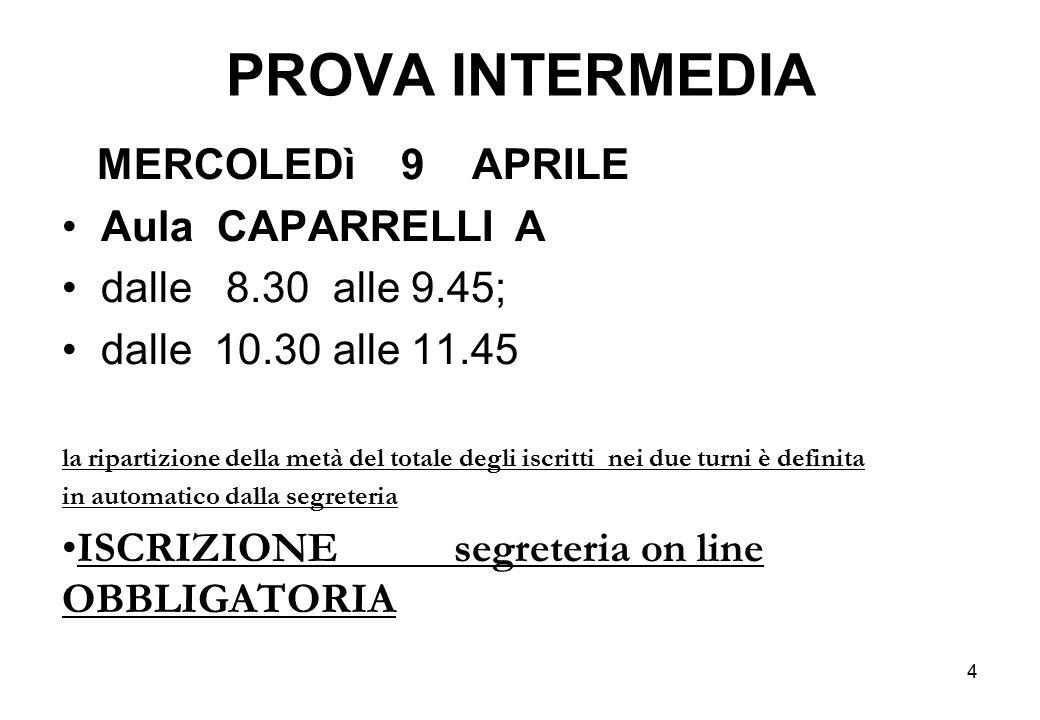 PROVA INTERMEDIA MERCOLEDì 9 APRILE Aula CAPARRELLI A