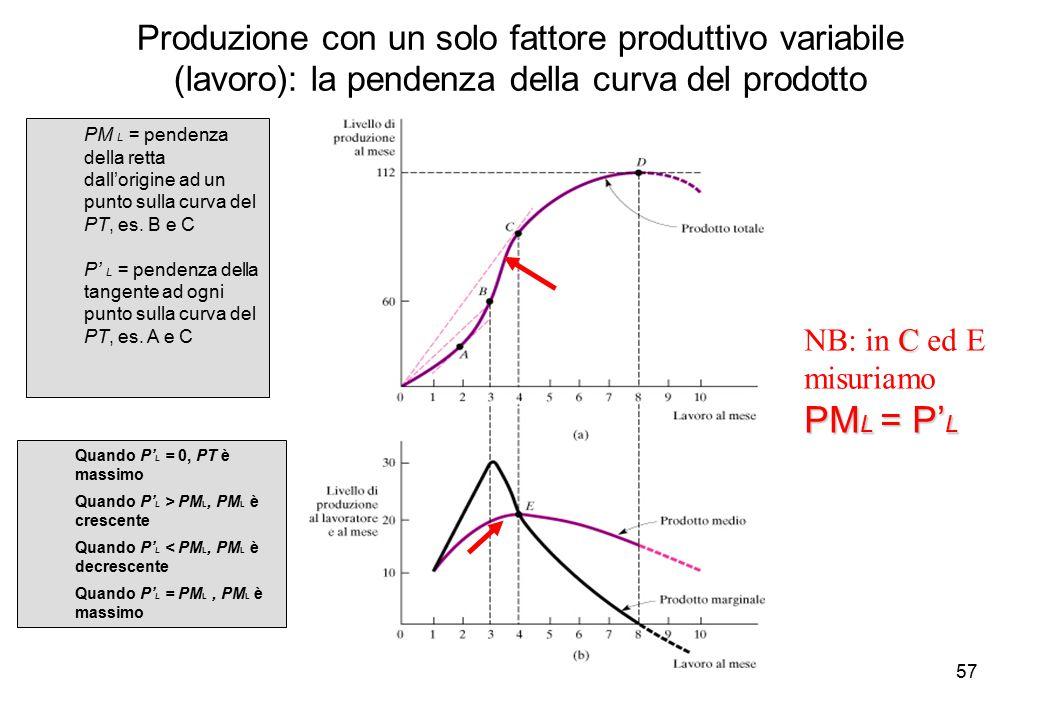 Produzione con un solo fattore produttivo variabile (lavoro): la pendenza della curva del prodotto