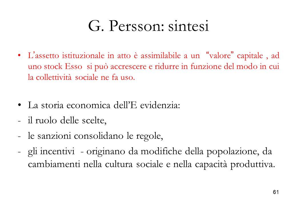 G. Persson: sintesi La storia economica dell'E evidenzia:
