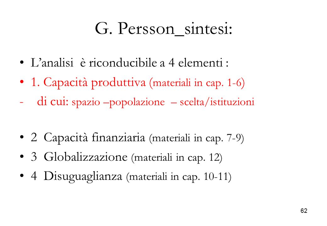 G. Persson_sintesi: L'analisi è riconducibile a 4 elementi :