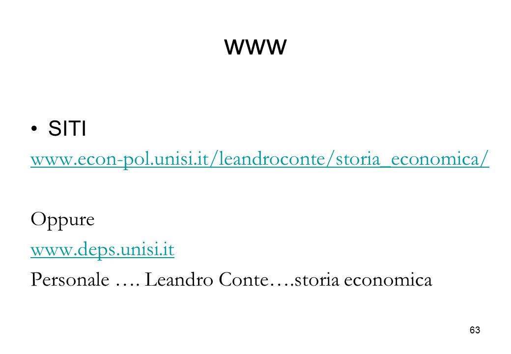 www SITI www.econ-pol.unisi.it/leandroconte/storia_economica/ Oppure