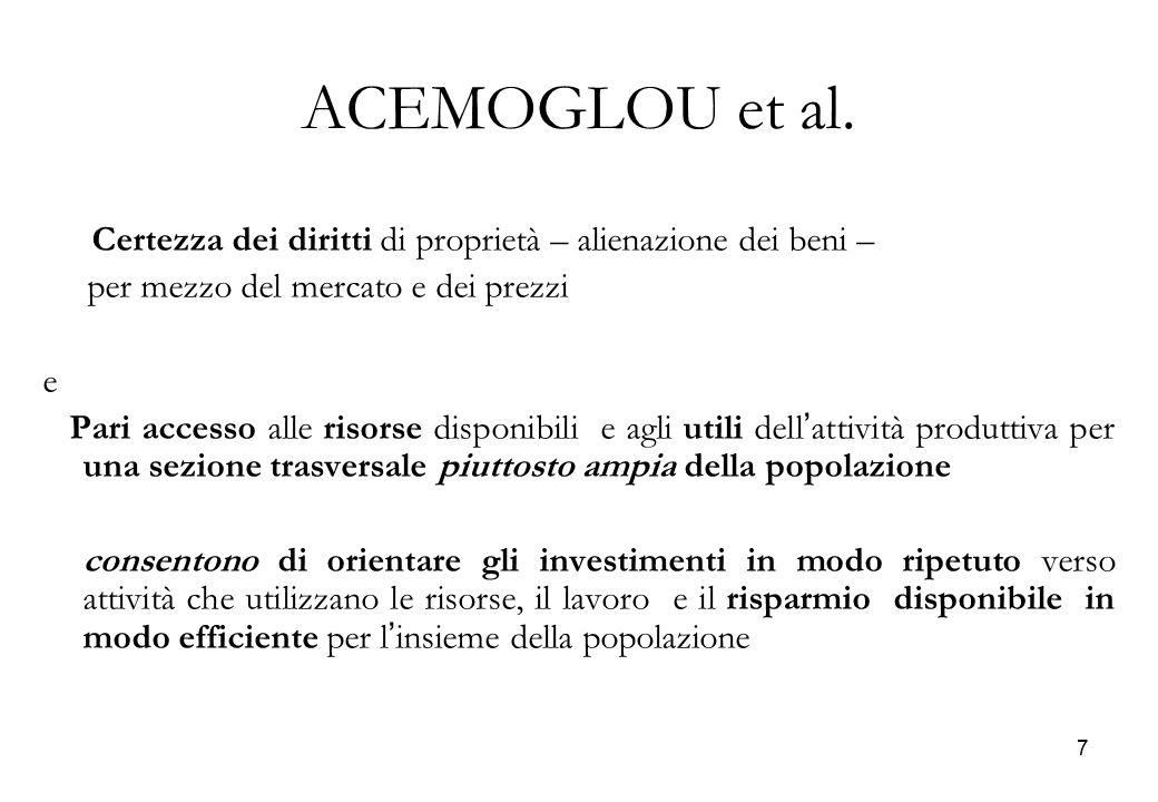 ACEMOGLOU et al. Certezza dei diritti di proprietà – alienazione dei beni – per mezzo del mercato e dei prezzi.