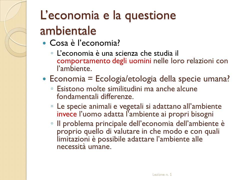L'economia e la questione ambientale
