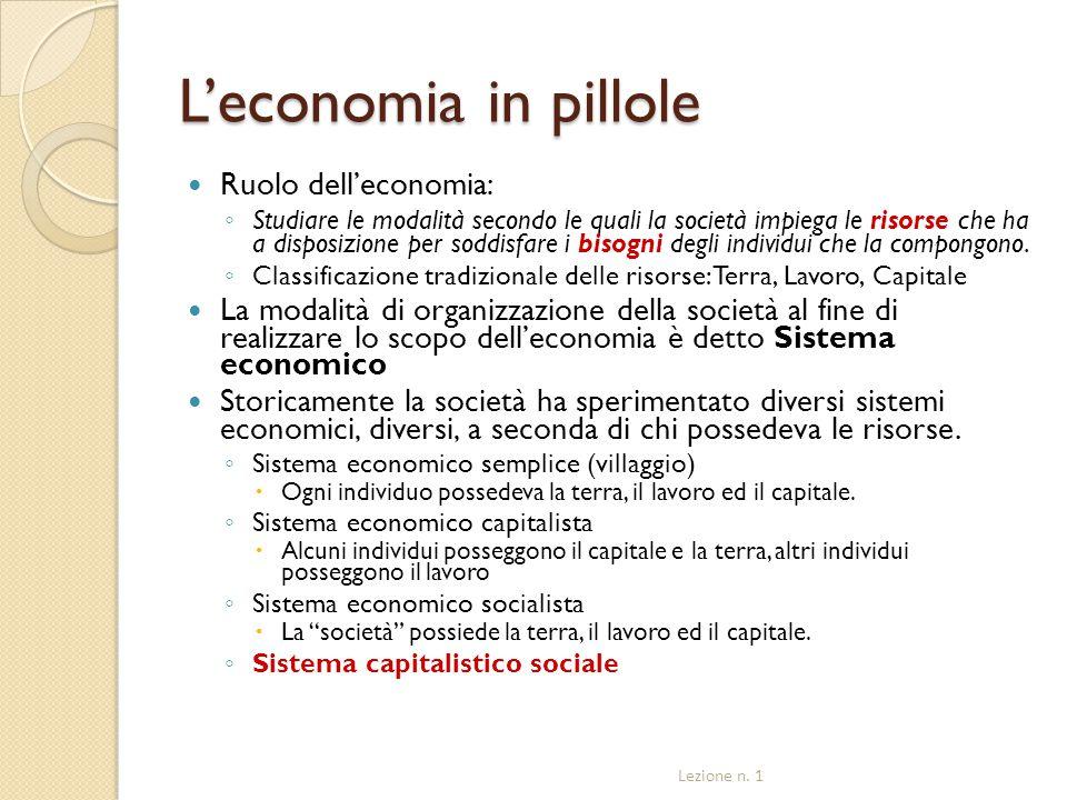L'economia in pillole Ruolo dell'economia: