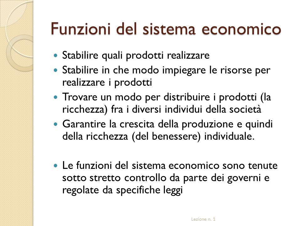 Funzioni del sistema economico