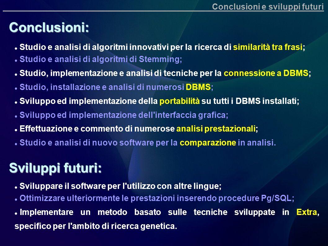 Conclusioni: Sviluppi futuri: Conclusioni e sviluppi futuri