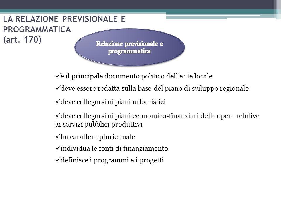 LA RELAZIONE PREVISIONALE E PROGRAMMATICA (art. 170)