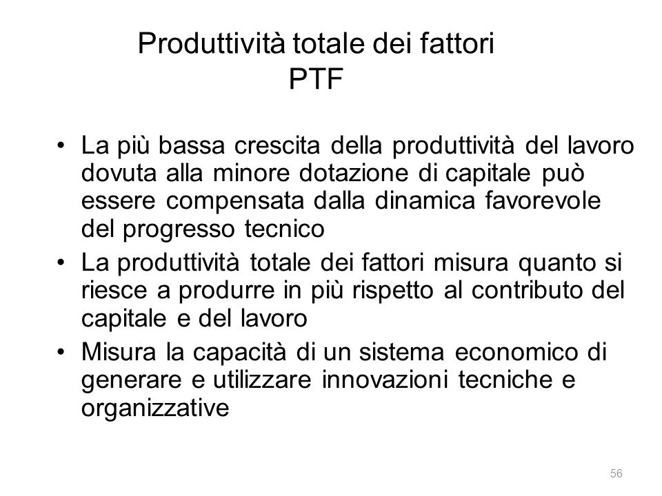 Produttività totale dei fattori PTF