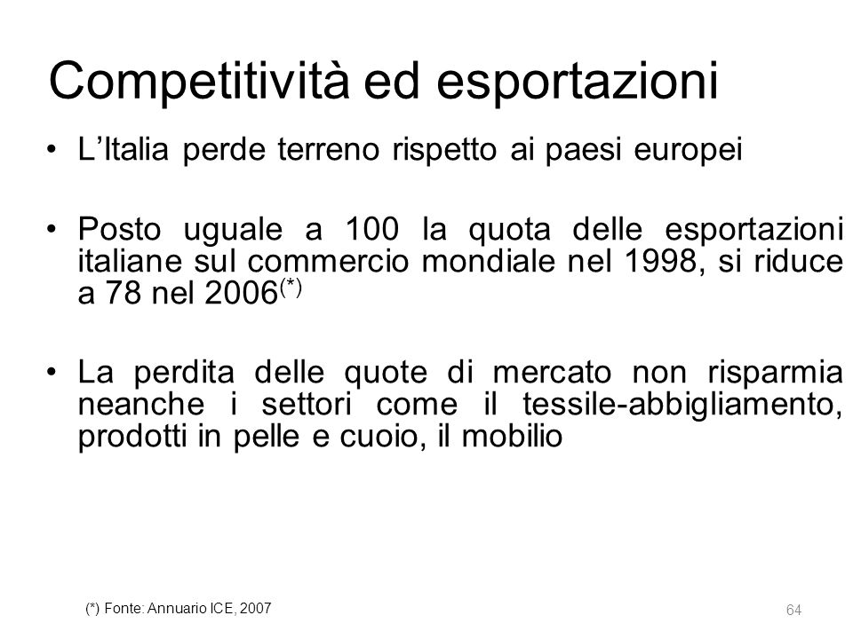 Competitività ed esportazioni