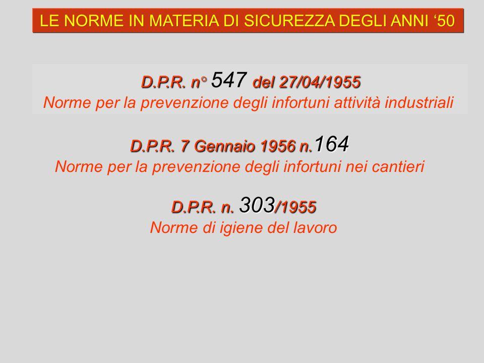 LE NORME IN MATERIA DI SICUREZZA DEGLI ANNI '50