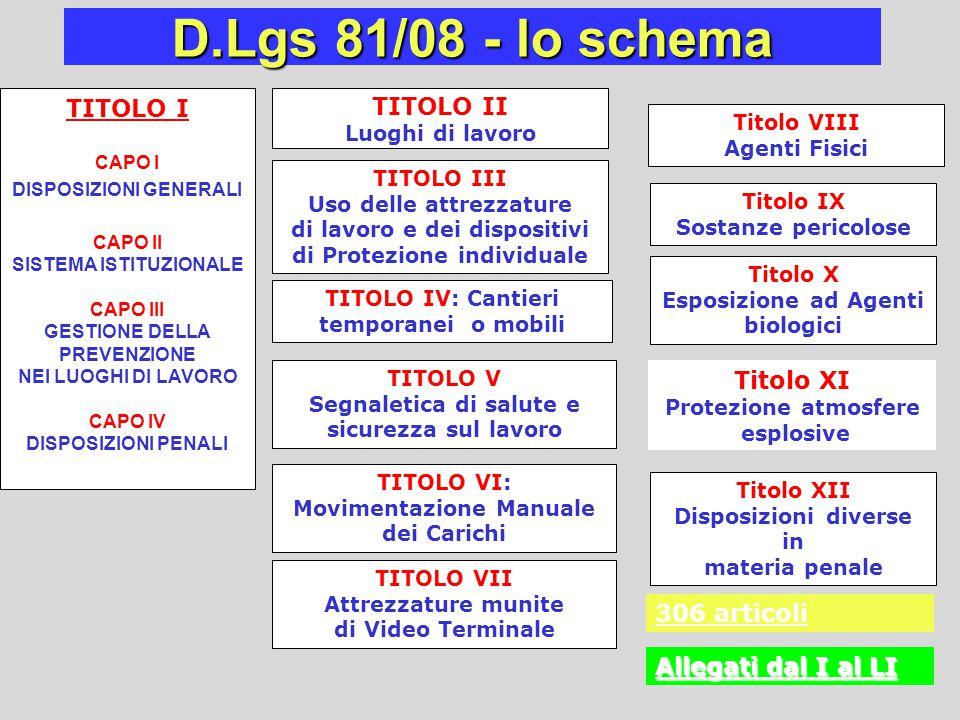 D.Lgs 81/08 - lo schema TITOLO I TITOLO II Titolo XI 306 articoli