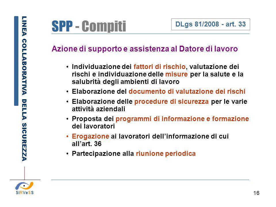 SPP - Compiti Azione di supporto e assistenza al Datore di lavoro
