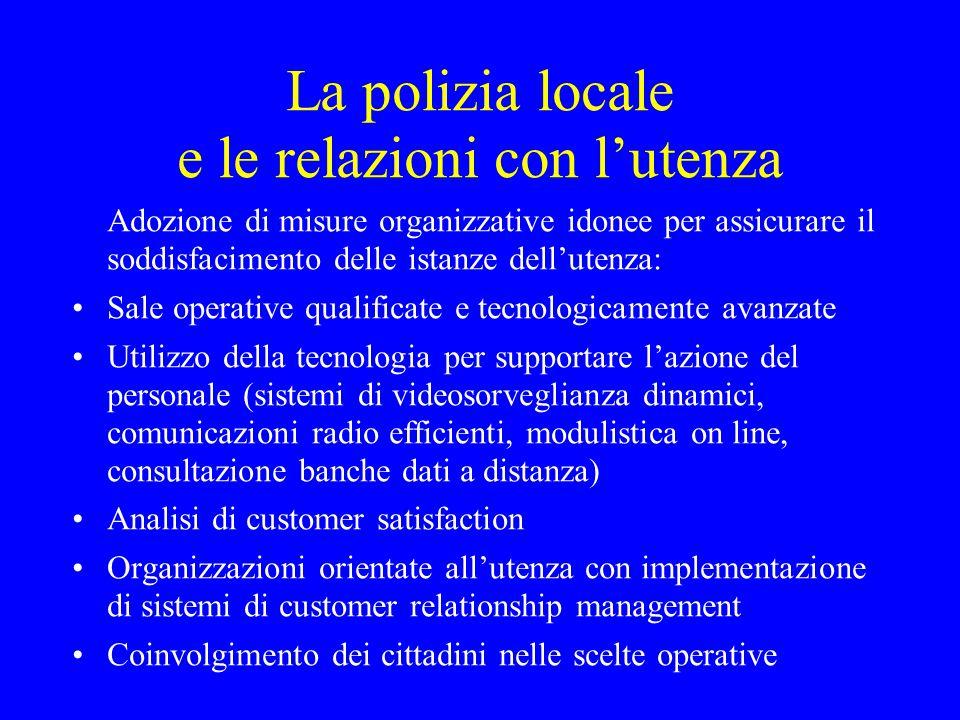 La polizia locale e le relazioni con l'utenza