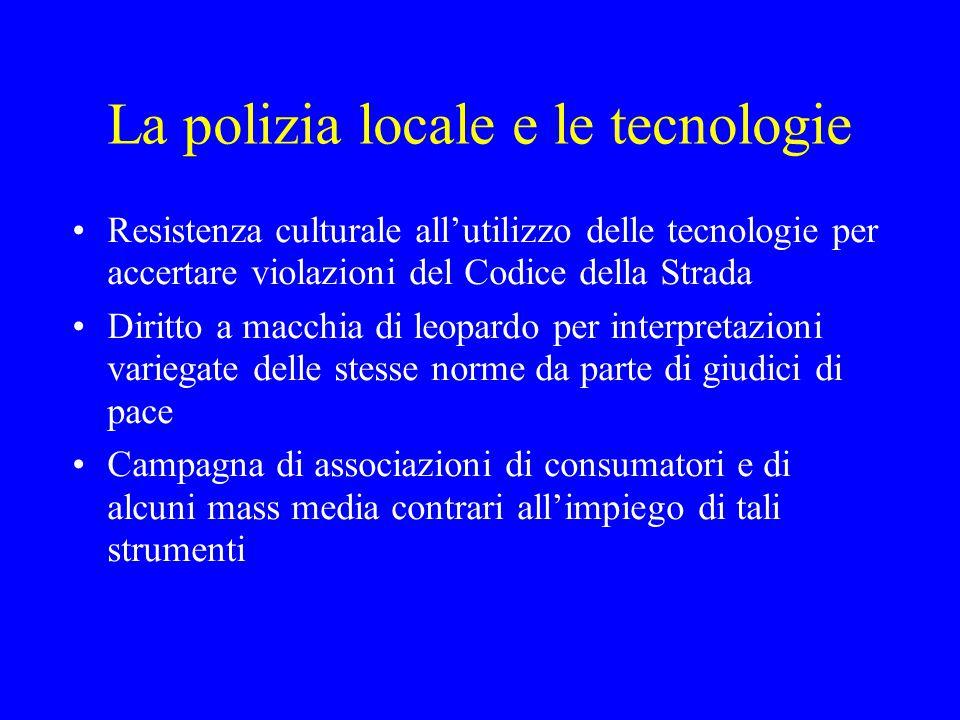 La polizia locale e le tecnologie