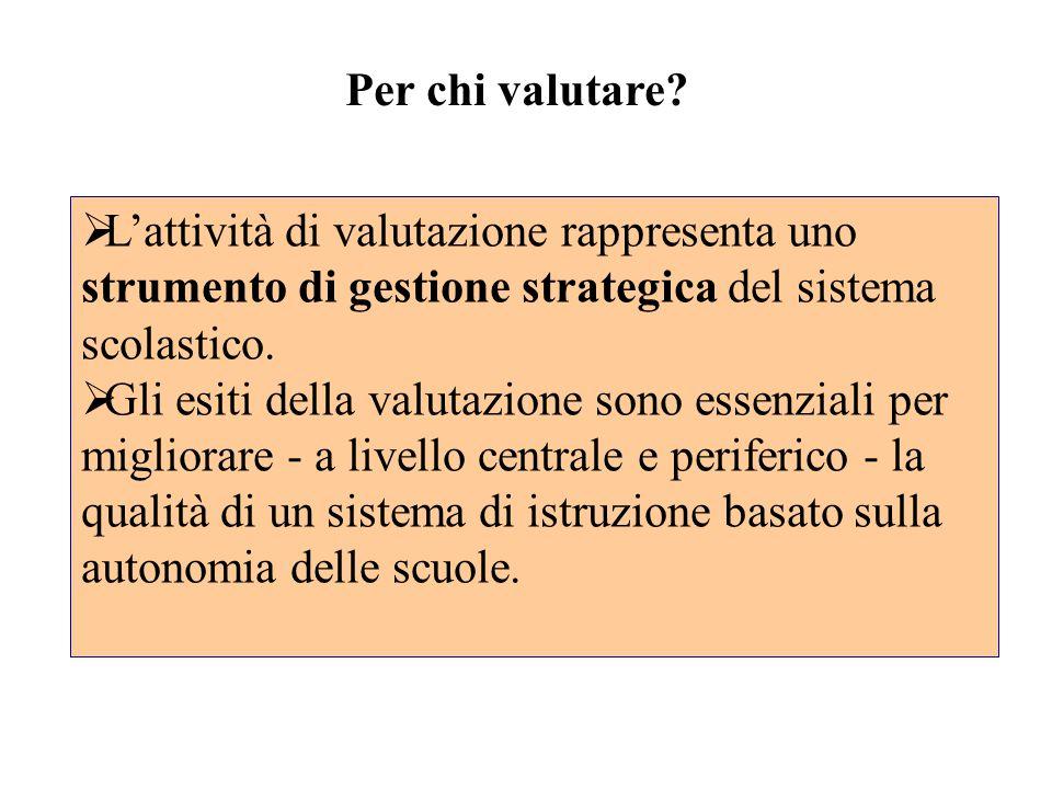 Per chi valutare L'attività di valutazione rappresenta uno strumento di gestione strategica del sistema scolastico.