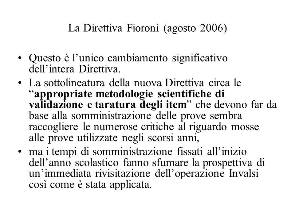 La Direttiva Fioroni (agosto 2006)