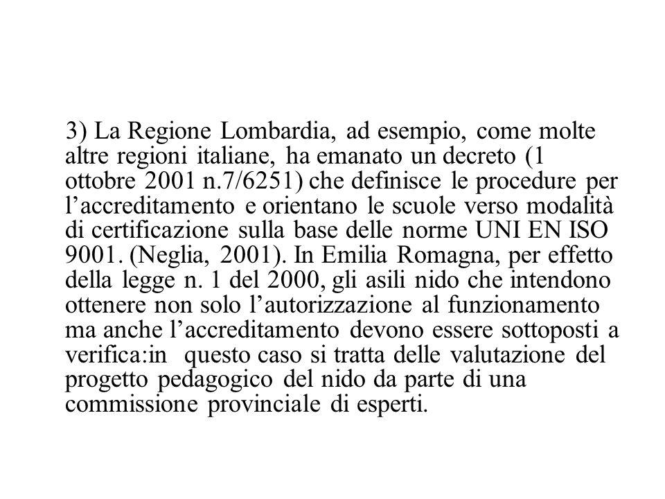 3) La Regione Lombardia, ad esempio, come molte altre regioni italiane, ha emanato un decreto (1 ottobre 2001 n.7/6251) che definisce le procedure per l'accreditamento e orientano le scuole verso modalità di certificazione sulla base delle norme UNI EN ISO 9001.