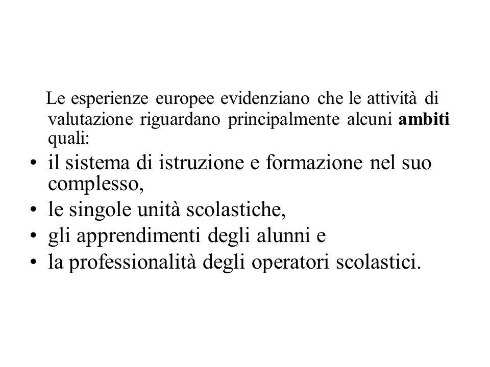 Le esperienze europee evidenziano che le attività di valutazione riguardano principalmente alcuni ambiti quali: