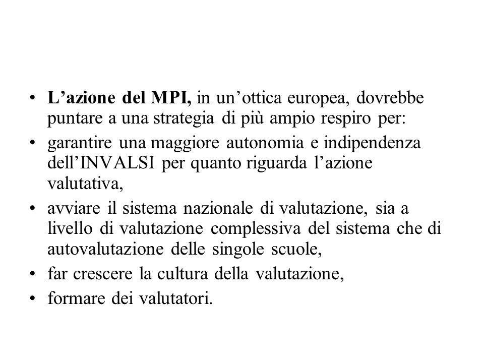 L'azione del MPI, in un'ottica europea, dovrebbe puntare a una strategia di più ampio respiro per:
