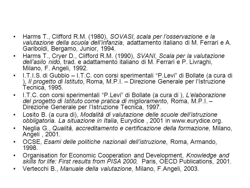 Harms T., Clifford R.M. (1980), SOVASI, scala per l'osservazione e la valutazione della scuola dell'infanzia, adattamento italiano di M. Ferrari e A. Gariboldi, Bergamo, Junior, 1994.