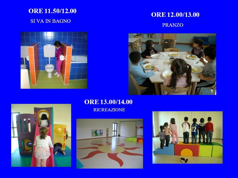 ORE 11.50/12.00 ORE 12.00/13.00 ORE 13.00/14.00 SI VA IN BAGNO PRANZO