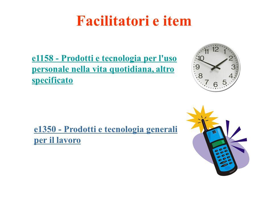 Facilitatori e item e1158 - Prodotti e tecnologia per l uso personale nella vita quotidiana, altro specificato.