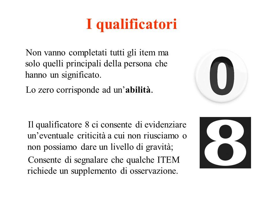 I qualificatori Non vanno completati tutti gli item ma solo quelli principali della persona che hanno un significato.