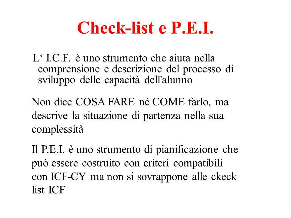 Check-list e P.E.I. L' I.C.F. è uno strumento che aiuta nella comprensione e descrizione del processo di sviluppo delle capacità dell alunno.