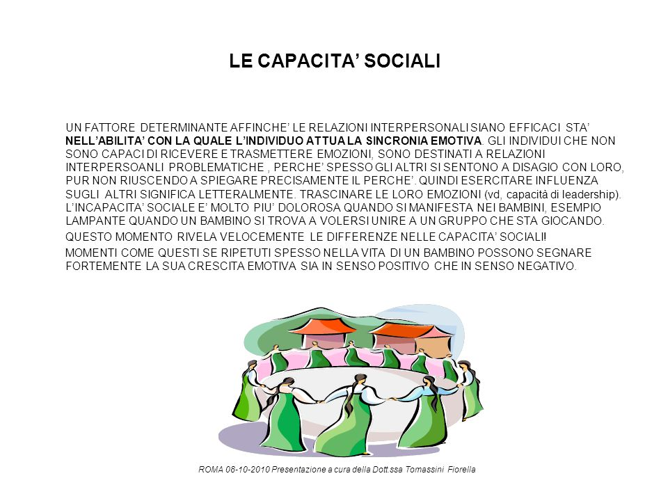 LE CAPACITA' SOCIALI