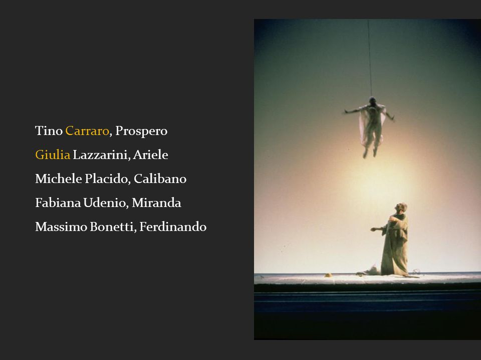 Tino Carraro, Prospero Giulia Lazzarini, Ariele. Michele Placido, Calibano. Fabiana Udenio, Miranda.