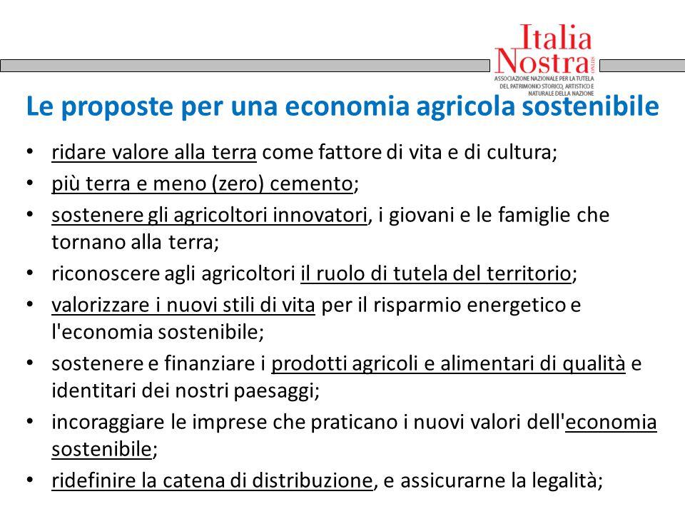 Le proposte per una economia agricola sostenibile