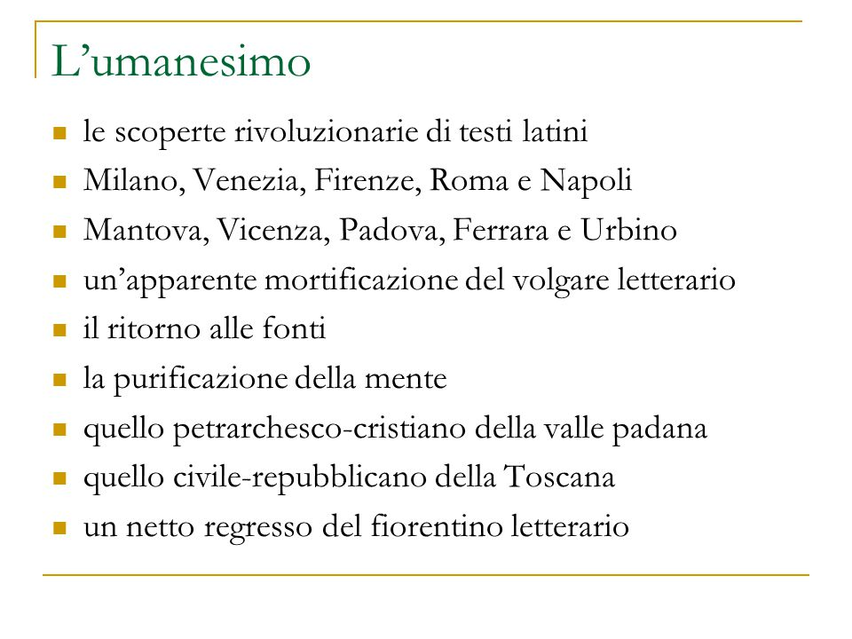 L'umanesimo le scoperte rivoluzionarie di testi latini