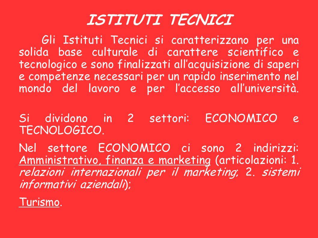 ISTITUTI TECNICI Si dividono in 2 settori: ECONOMICO e TECNOLOGICO.
