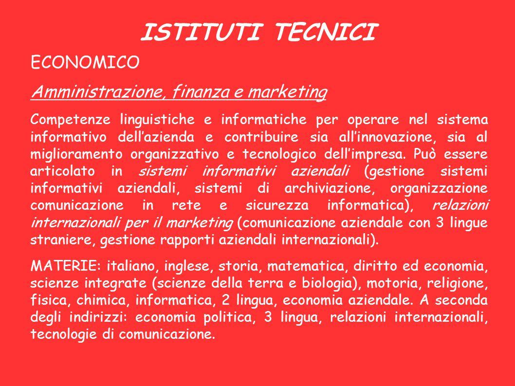 ISTITUTI TECNICI ECONOMICO Amministrazione, finanza e marketing