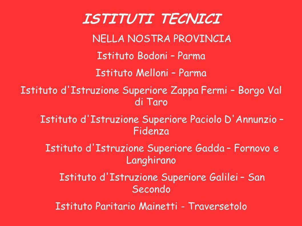 ISTITUTI TECNICI NELLA NOSTRA PROVINCIA Istituto Bodoni – Parma