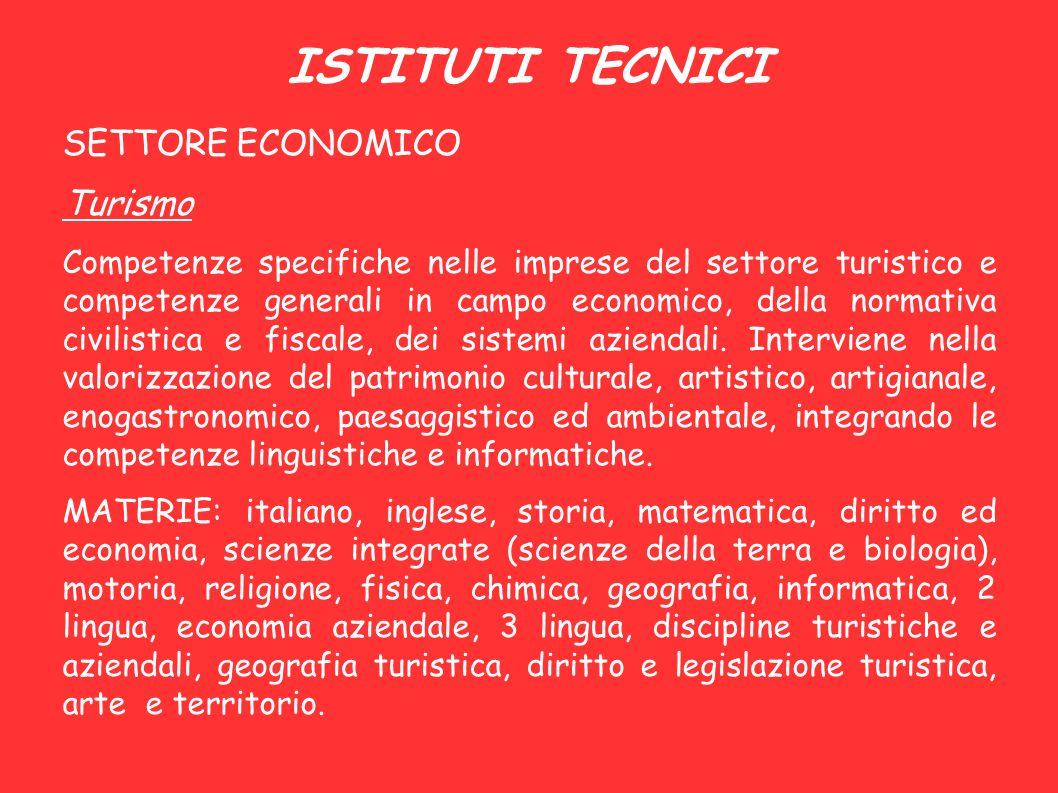 ISTITUTI TECNICI SETTORE ECONOMICO Turismo